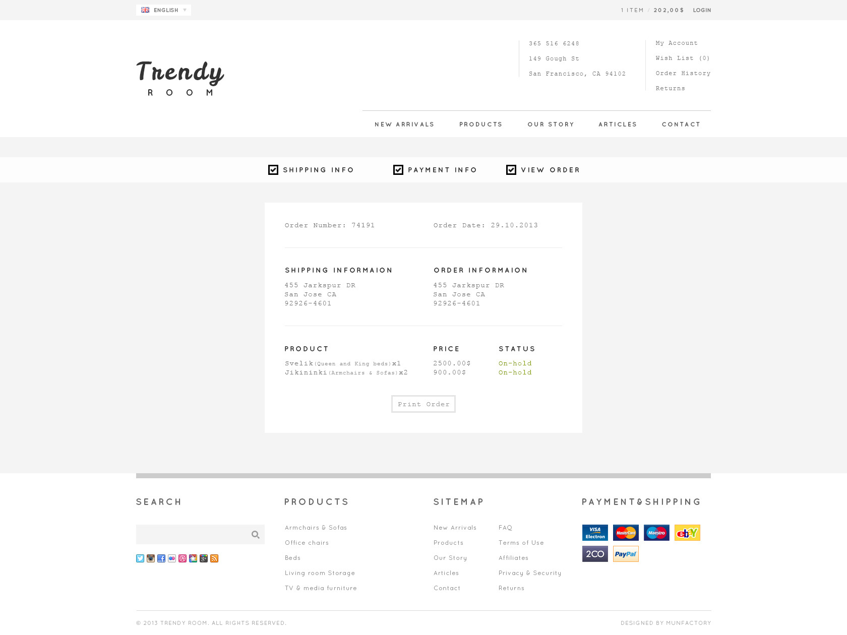 Trendy ROOM :: Luxury Shopping PSD Template