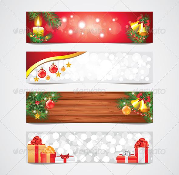 GraphicRiver Christmas Holidays Vector Banners Set 6064034
