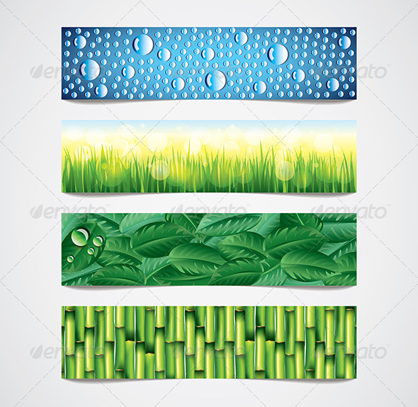 GraphicRiver Nature Patterns Vector Banners Set 6064036