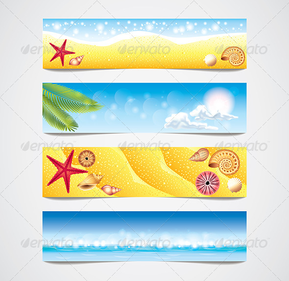 GraphicRiver Tropical Beach Vector Banners Set 6064038