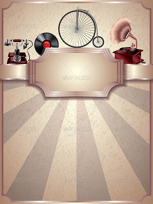 vintage vector background retro objects graphicriver. Black Bedroom Furniture Sets. Home Design Ideas