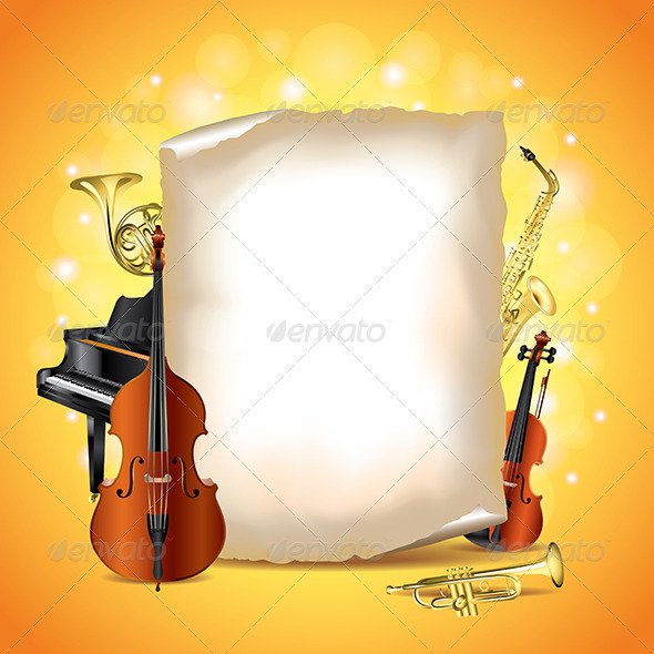 Musical Instruments with Blank Paper Vector