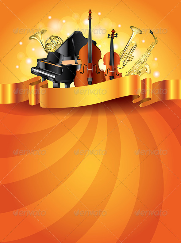 GraphicRiver Musical Instruments Golden Vector Background 6064087