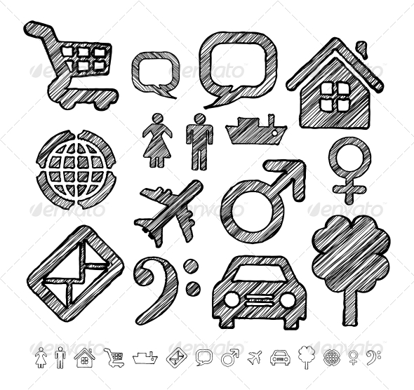 GraphicRiver Group of Icons for Infographic in Doodle Style 6064500