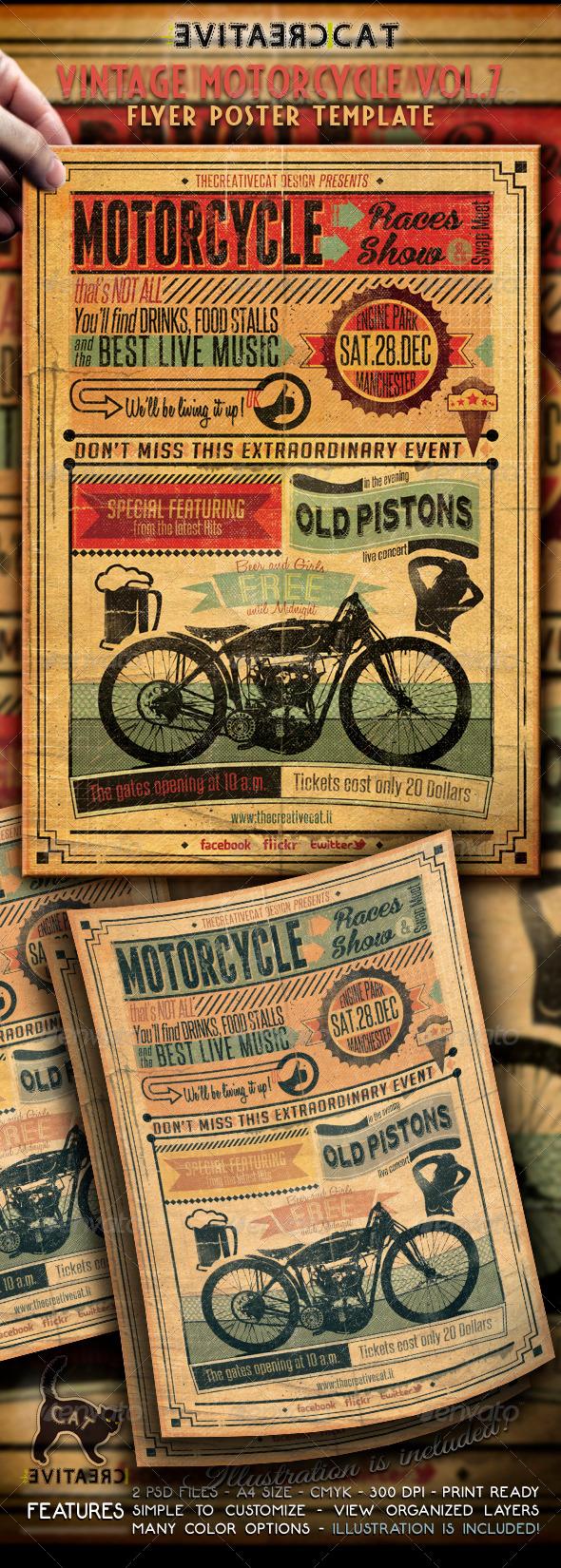 vintage motorcycle flyer poster vol 7 graphicriver. Black Bedroom Furniture Sets. Home Design Ideas