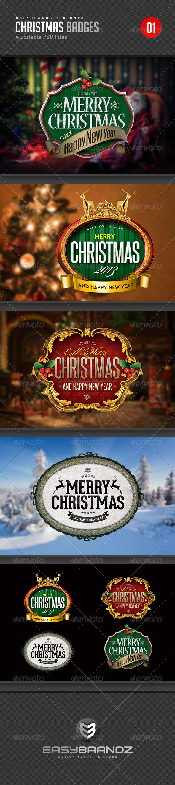 GraphicRiver 4 Christmas Badges 6065042