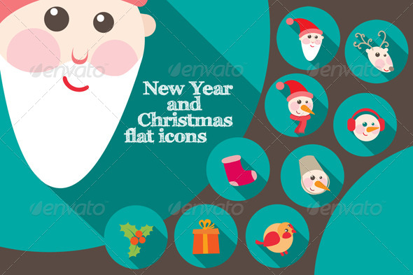 New Year And Christmas Flat Icons