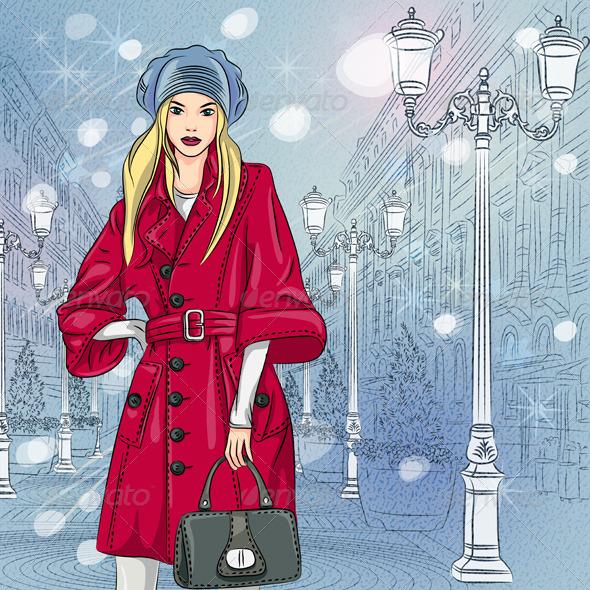 GraphicRiver Vector Fashionable Girl on the Christmas 6065708