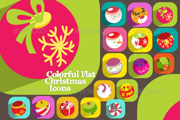 GraphicRiver 16 Colorful Flat Christmas Icons 5979656