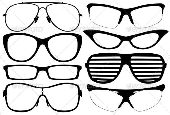 GraphicRiver Glasses Silhouette 6065785