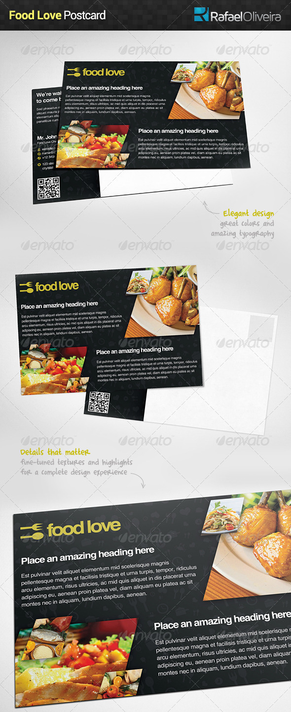 GraphicRiver Food Love Postcard 6065940