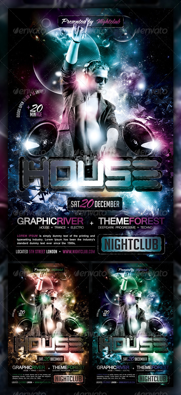 House Trance Electro Party Flyer Poster