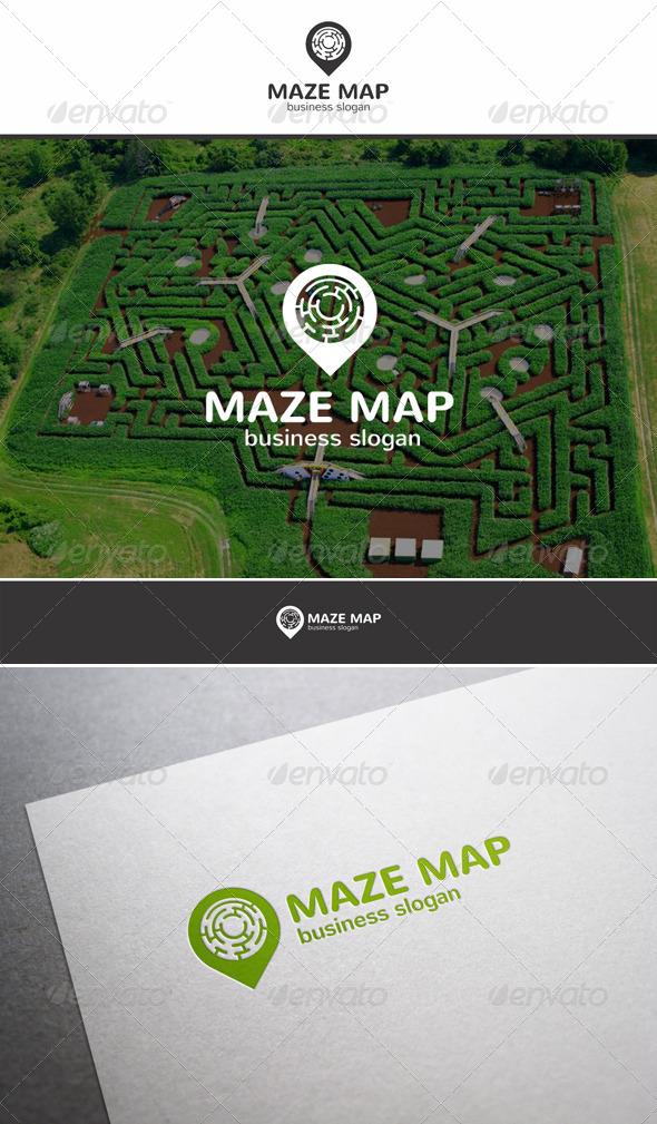 Maze Map Locator Logo - Objects Logo Templates