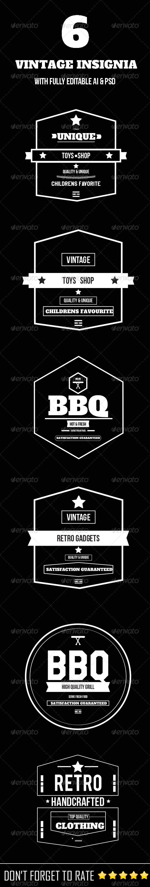 GraphicRiver 6 Vintage Insignia 6065803