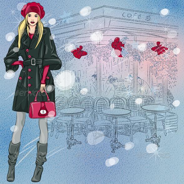 GraphicRiver Fashion Girl Near Parisian Cafe 6066713
