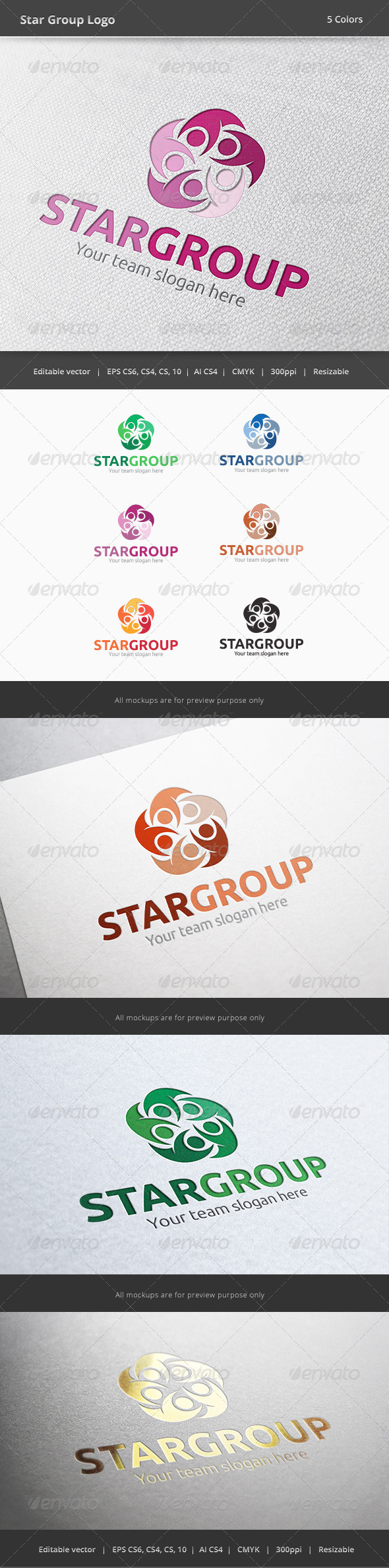 GraphicRiver Star Group People Logo 6067328