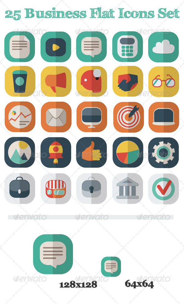 GraphicRiver 25 Business Flat Icons Set 6067392
