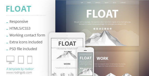 ThemeForest Float Responsive HTML One-Page Template 6067501