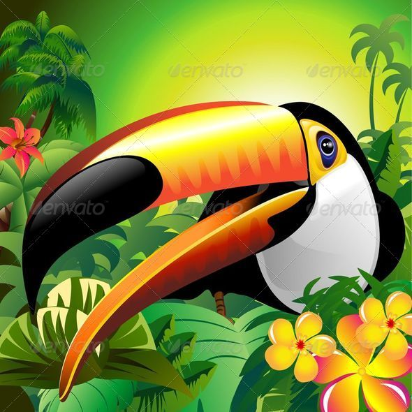 GraphicRiver Toucan Close Up on Green Jungle 6067609