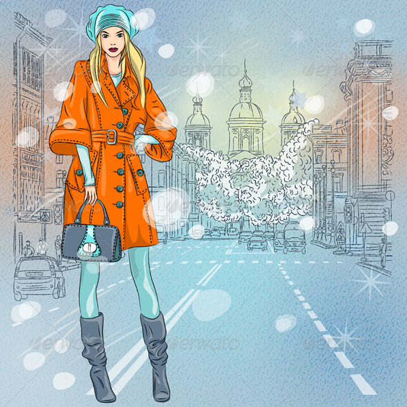GraphicRiver Fashionable Girl on the Avenue 6067675