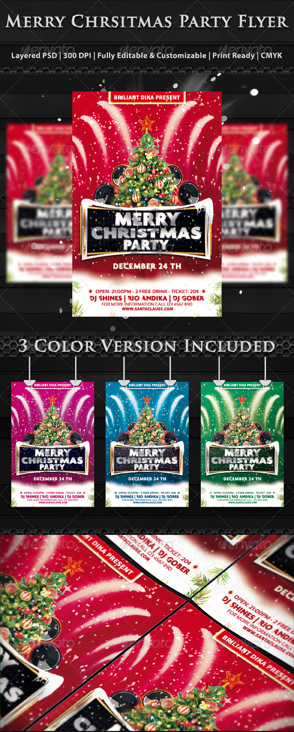 Merry Christmas Party Flyer Templates - Clubs and Parties Events