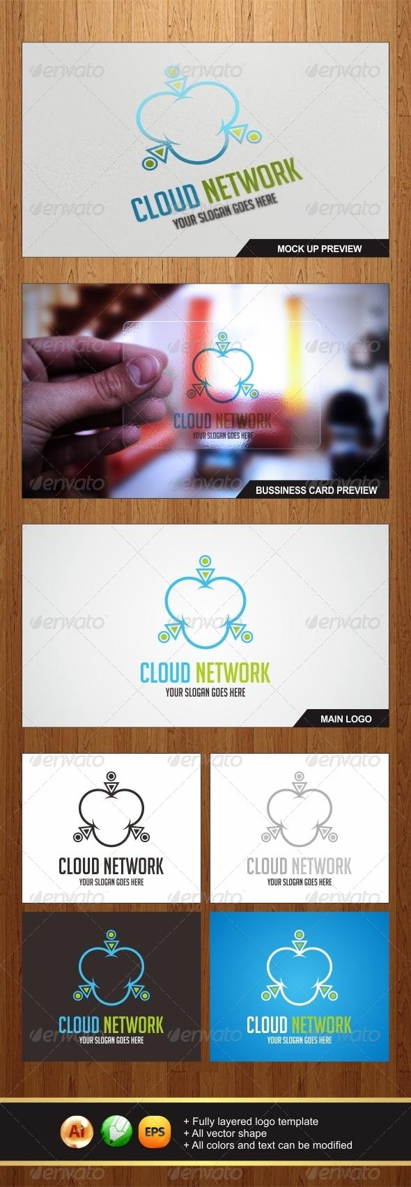GraphicRiver Cloud Network Logo 6068215