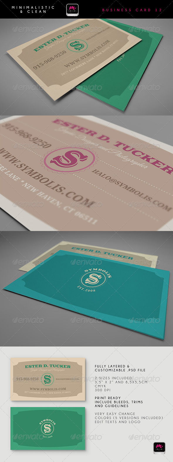 Clean business card template 12 graphicriver for 12 up business card template