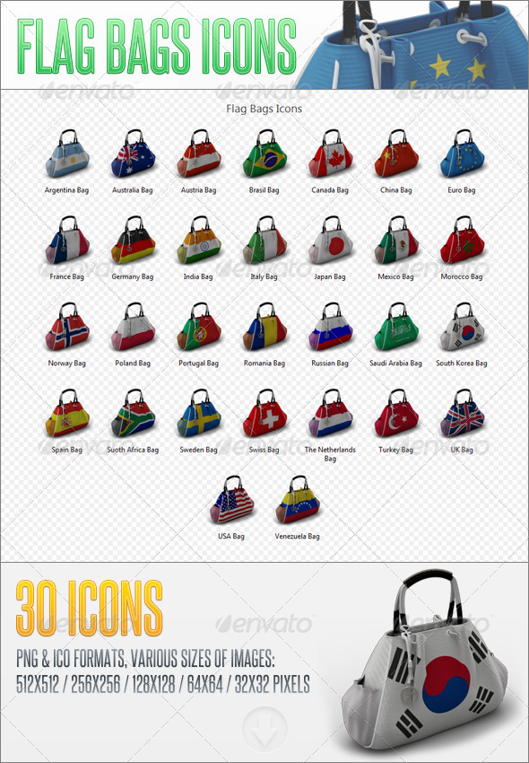 GraphicRiver Flag Bags Icons 6052748
