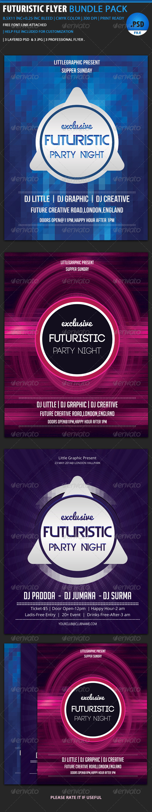 GraphicRiver Futuristic Flyer Bundle 2 6068471