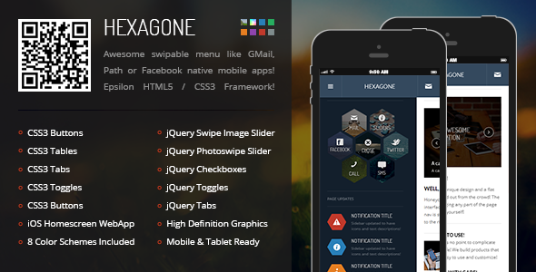 Hexagone | Mobile Retina HTML5 & CSS3 with WebApp  - Mobile Site Templates