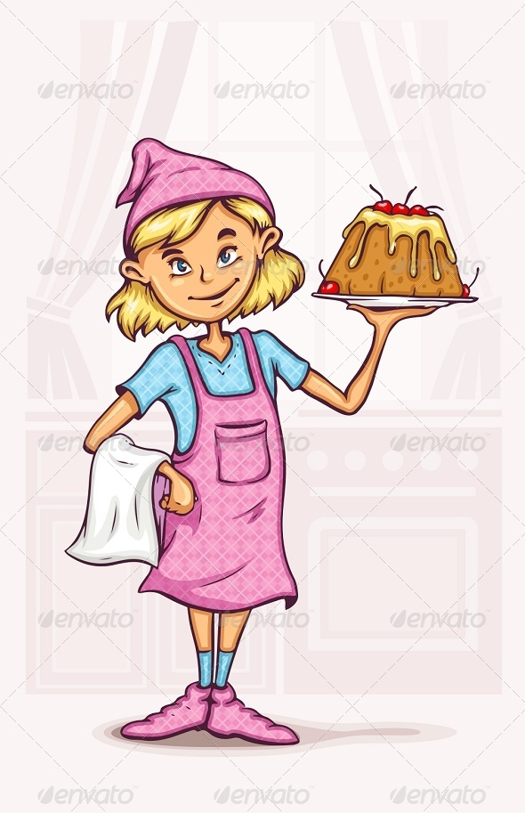 GraphicRiver Little Girl Cooking Sweet Cake at the Kitchen 6069327