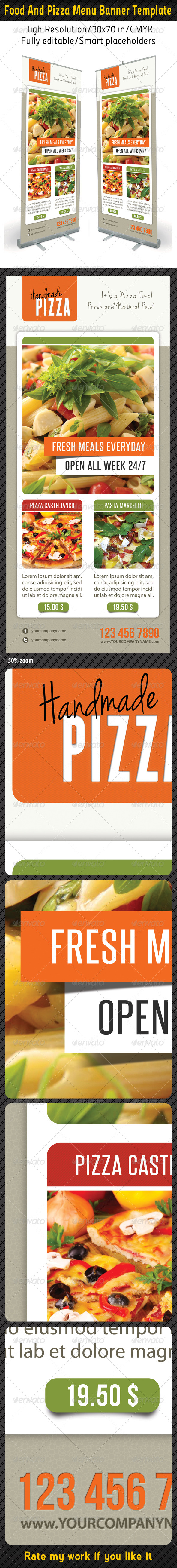 Food And Pizza Menu Banner Template 05 - Signage Print Templates