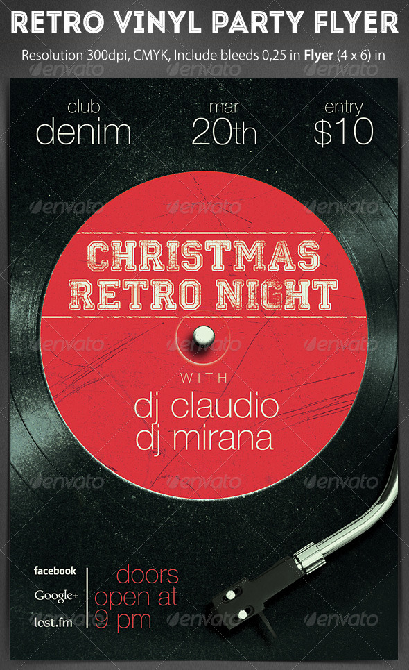 Retro Vinyl Party Flyer - Clubs & Parties Events