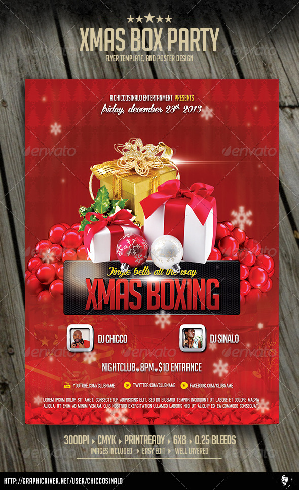Christmas Boxing Flyer Template - Flyers Print Templates