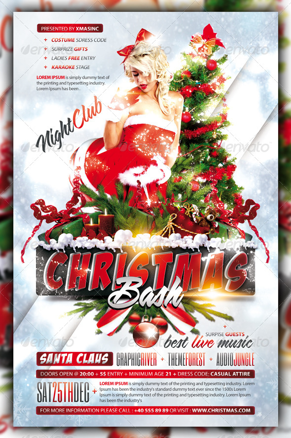 GraphicRiver Christmas Xmas Bash Party Flyer Poster 6069438