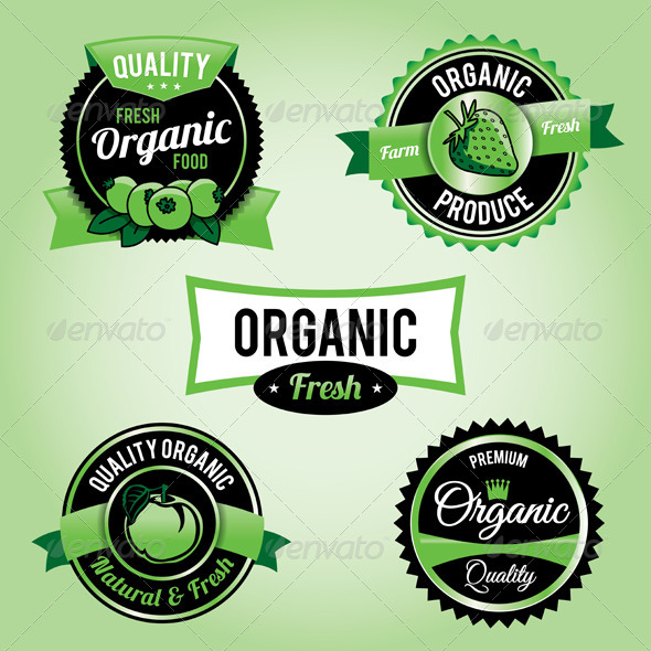 Vector Organic Food Labels and Badges