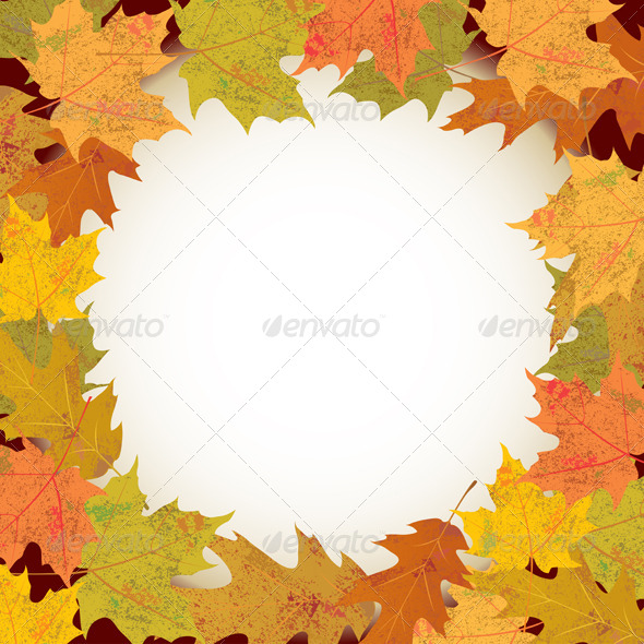 GraphicRiver Vector Autumn Leaves Circle Background 6070477