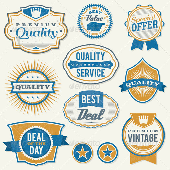 GraphicRiver Retro Aged Business Labels and Badges 6070570
