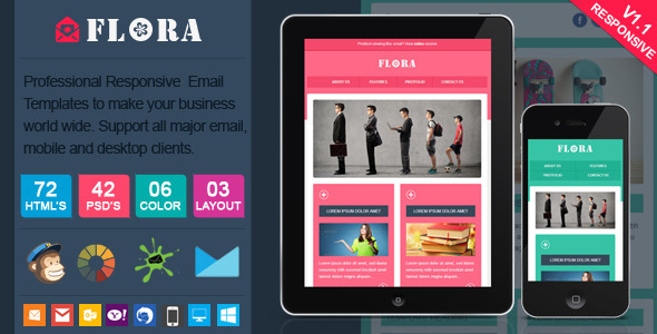 ThemeForest Flora Stylish Responsive Email Template 6070707