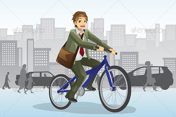 GraphicRiver Businessman Riding Bicycle 6070723