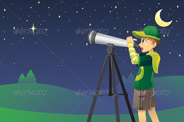 GraphicRiver Looking at Stars with Telescope 6070815