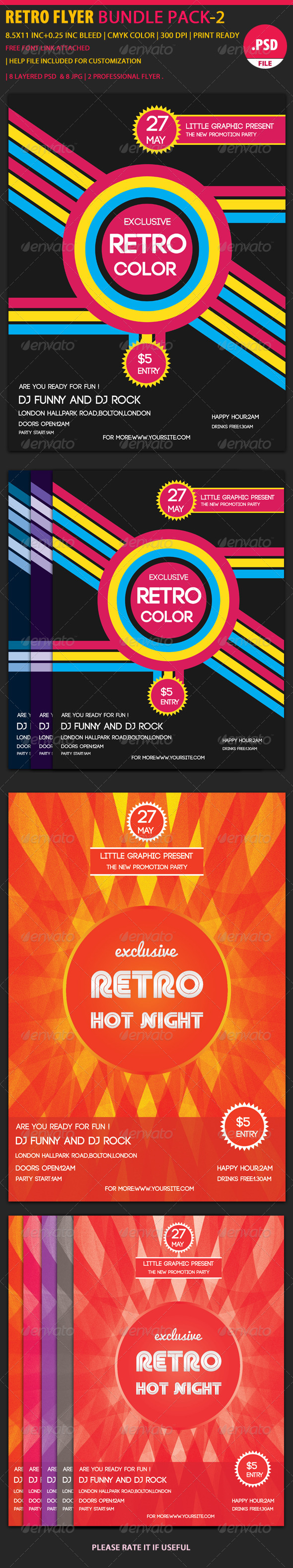 GraphicRiver Retro Party Flyer Bundle 2 6071188