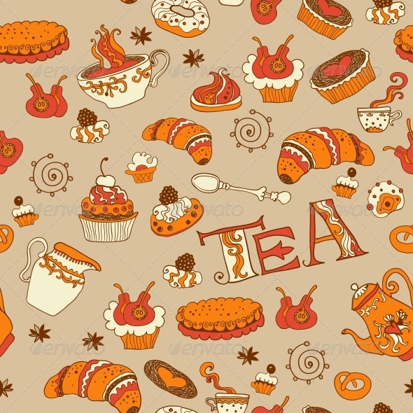 GraphicRiver Tea and Sweets Seamless Doodle Pattern 6071471