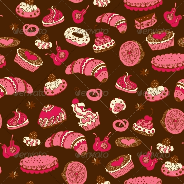 GraphicRiver Seamless Pattern with Different Types of Pastries 6071491