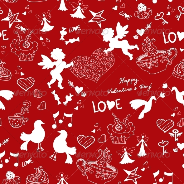GraphicRiver Romantic Love Red Seamless Pattern 6071518