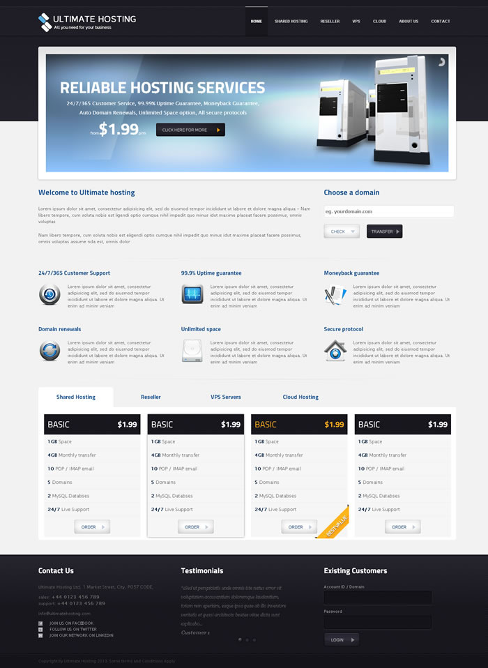 Ultimate Hosting Full Responsive