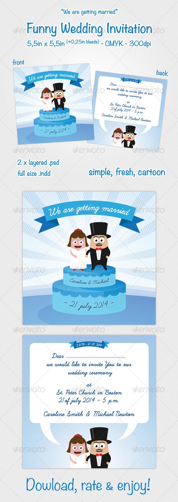 GraphicRiver Funny Wedding Invitation 3777593