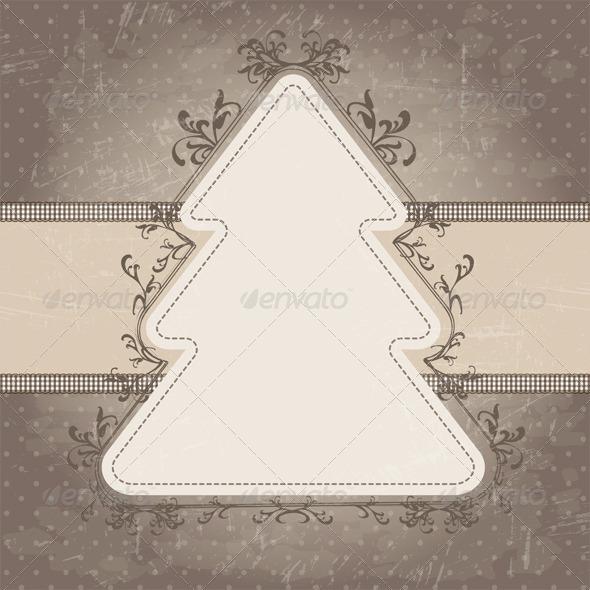 GraphicRiver Vintage Christmas Tree Label 6072095