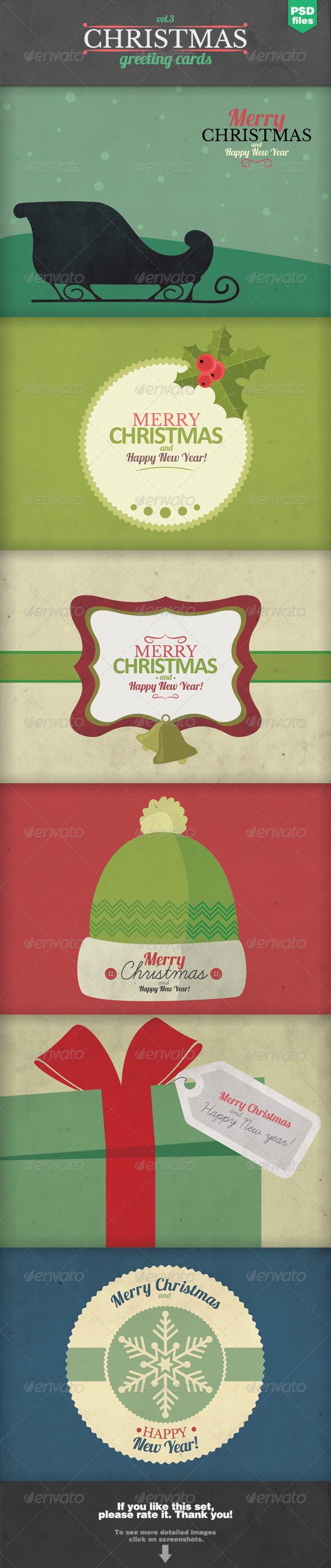 GraphicRiver Christmas Greeting Cards Set 3 6072153