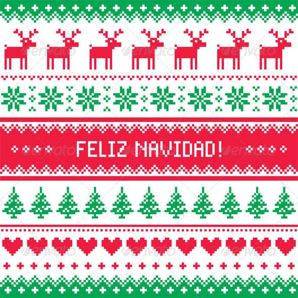Feliz Navidad Card Scandynavian Christmas Pattern